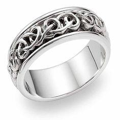 White and Rose Gold Celtic Knot Wedding Band Irish Wedding Rings, Gothic Wedding Rings, Celtic Wedding Bands, Skull Wedding Ring, Gothic Engagement Ring, Platinum Wedding Rings, White Gold Wedding Bands, Silver Wedding Rings, Wedding Ring Bands