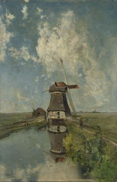 Een molen aan een poldervaart, bekend als 'In de maand juli', Paul Joseph Constantin Gabriël, ca. 1889,