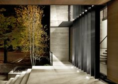 dSPACE Wisconsin Modern Riverfront- Modern entry, steel louvers, LED lighting, warm wood exterior