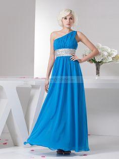 Venus Neck Chiffon Prom Dress with Beaded Belt