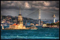 Kız Kulesi Ve Köprü Canon Eos, Tower Bridge, San Francisco Ferry, Istanbul, Taj Mahal, City, Building, Bb, Photograph