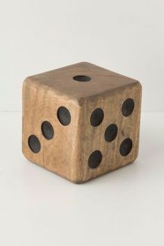 giant wood  wooden dice, can be a green DIY Anthropologie knock off craft, home decor, recycle reclaimed wood, scraps... mine won't look as good, but the money I save will make it look better... HAHA who am I telling lies to... like I am going to make this... seriously, did you believe me? Now repin it so you can look at too, cause you probably won't be making it either!