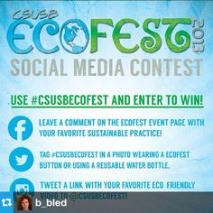 With EcoFest coming up on Oct. 18 we want you to share your favorite sustainable practice with us & enter to win some prizes the day of the event! Tag yourself with #CSUSBECOFEST wearing an EcoFest button or visit us on Facebook or Twitter & post how you live green! #csusb #csusbsmsu #gogreen #recycle #contest