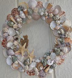 seashell wreath beach wreath shell wreath beach by GrandmasWreaths