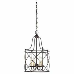 "Showcasing an openwork wire frame and bronze finish, this stunning pendant light casts a warm glow in your foyer or dining room.   Product: PendantConstruction Material: MetalColor: BronzeAccommodates: (4) 60 Watt bulbs - not includedDimensions: 22.5"" H x 13.5"" Diameter"