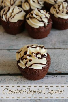 Chocolate Surprise Cupcakes #recipe!  Enjoy decedent chocolate cupcakes with a warm melted middle!
