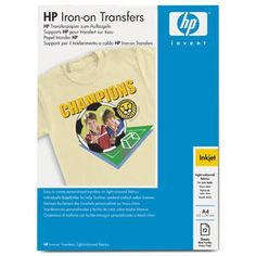 HP C6050A IRON-ON T-SHIRT TRANSFER A4/10 LISTOV (170 g) - Ekotoner.sk T Shirt Transfers, Iron On Transfer, A4, Shirts, Shirt, Dress Shirt, Top, Tees, T Shirts