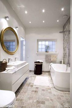 Like the way the tones blend in this bath. Stone Bathroom, Laundry In Bathroom, House, Cosy Interior, House Styles, Kitchens Bathrooms, Luxury Bathroom, Bathroom Decor, Bathroom Inspiration