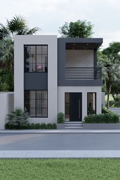 Small Modern House Exterior, Small Modern House Plans, Modern Small House Design, Modern House Facades, Modern Minimalist House, Small House Interior Design, Simple House Design, House Front Design, Small House Exteriors