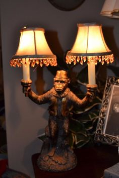 Unusual Vintage Figural Lamp, Monkey With Two Lights, Carved Resin, Fantastic! Sea Turtle Shell, Monkey, Lamps, Resin, Table Lamp, Carving, Lights, Vintage, Home Decor