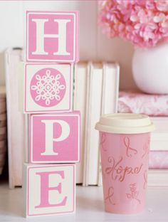 There's Power in Pink! Woodcrafts Hope blocks and Horizon of Hope Travel Cup