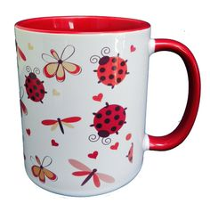 A collection of Ladybirds, Butterflies & Flutterbyes on this cheerful mug, with a red inner and a red handle. A high quality ceramic mug which is dishwasher proof. Height is 9.5cm, diameter 8.2cm, with a capacity of 310 ml (11oz). From the Series 6 Animals Range by Half a Donkey Ltd. www.halfadonkey.co.uk
