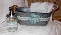 New Galvanized Oval Bucket, Soap Pump, Towel, Gift Set, Custom Designed
