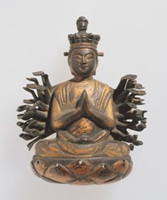 Votive Plaque, Senju Kannon (Sahasrabhūja), Partial, Cast bronze, gold plate, Kamakura period 14th century,