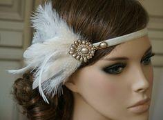 Haarschmuck & Kopfputz - Braut Haarband 20er Jahre Gold ivory - ein…