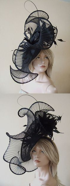 Large Feathered Black pleated Crin Headpiece Fascinator Hat. Perfect hatinator hat for day at the races, Ladies Day Ascot (and is Royal Enclosure accepted), Epsom Derby, Grand National. Outfits ideas for the races. For hire from www.dress-2-impress.com #designerhats #royalascot #ascotraces #hathire #passion4hats #ascothats #millinery #hats #bighats #ascot #fashion #fashionista #bloggerfashion  #racingfashion #kentuckyderby #derbyhats #epsomraces #epsomderby #ladiesday #amazinghats…