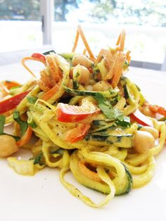 """Curried Veggie """"Noodle"""" Salad with Chickpeas – Vegan and Gluten-Free"""