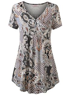 Shop WAJAT Women's Floral Print Short Sleeve V-Neck Pleated Casual Slim Fit Jersey Tunic Tops Brown M. Fasion, Floral Prints, Short Sleeve Dresses, Tunic Tops, Comfy, V Neck, Slim, Womens Fashion, Casual