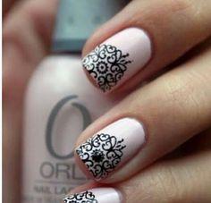 #Nails Nail Art www.finditforweddings.com pink and black