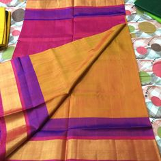 Golden yellow uppada silk Saree with double coloured border