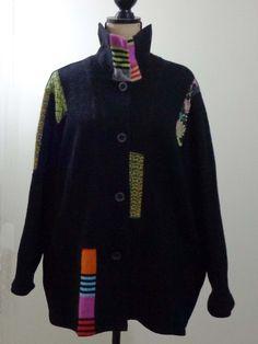 ART TO WEAR Lagenlook Canvas Back jacket artsy black artsy quirky designer sz 1X #CanvasBack #BasicJacket #EveningOccasion