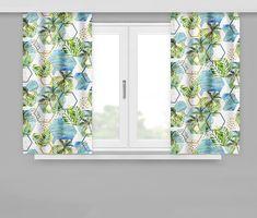 Moderní závěsy v letím motivu s palmami Curtains, Shower, Bathroom, Home Decor, Rain Shower Heads, Washroom, Blinds, Decoration Home, Room Decor