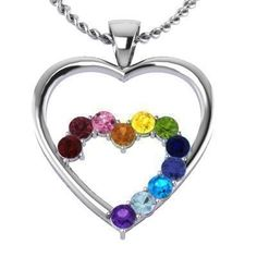 Sterling Silver 1/3ct Double-Heart Pendant with Ruby, Garnet Rhodolite, Pink Sapphire, Citrine, Amethyst, Aquamarine, Yellow Sapphire, Swiss Blue Topaz, Peridot, Tanzanite, and Blue Sapphire. Charm your loved one with this beautiful double-heart pendant surrounded by stones personalized for your special someone!   This pendant comes with ah 18-inch cable chain made with the same metal as your pendant.