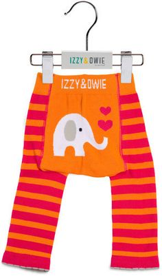 Pink and Orange Elephant Girls Leggings by Izzy & Owie - Giggles Gear