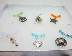 Beach Themed Wine Glass Charms Ocean Themed Sea Shell Charms 6 Piece Set Swarovski Bicone Elements Silver Plate Rings by WhispySnowAngel on Etsy