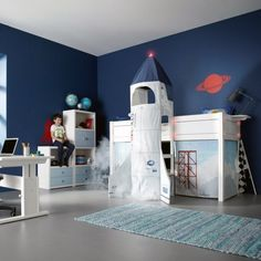 Check it out this room to make every little boy crazy! The bed is an unusual bunk bed, and the ladder is covered with curtains simulating a space rocket. Designs and formats to leave your kid into the clouds, and of course enjoy a cozy and attractive room. With a good paint, some stickers, investing in futuristic furniture in order not to lose the details, it will be perfect! Where did we find this? Here!