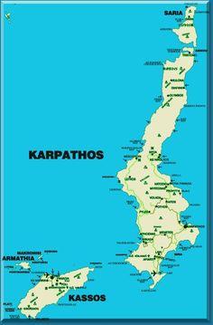Kaart van het Griekse eiland Karpathos