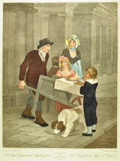 Hot spice gingerbread seller with two children and a dog at his barrow and another boy by a woman.    Date of Execution: c1870    Artist: Wheatley, Francis (1747-1801)