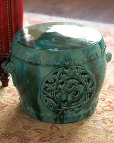 ANTIQUE BLUE-GREEN GARDEN SEAT, C. This antique ceramic garden seat with a pierced design features its original distinctive blue-green glaze. Includes certificate of authenticity. Not outdoor safe. Green Colors, Blue Green, Ceramic Garden Stools, Ceramic Stool, Most Beautiful Gardens, Beautiful Things, Garden Seating, Green Garden, Vintage Ceramic