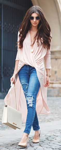 Nude Draped High And Low Wrap Maxi Dress