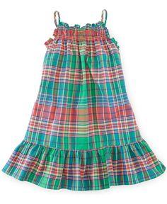 Ralph Lauren Little Girls' Plaid Madras Woven Dress