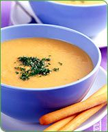 Weight Watchers Potato Cheese Soup... This is seriously my favorite soup. It's made mostly with vegetables and broth, it's low-fat, it's easy, and it's tasty. Mama liked it, too. :)