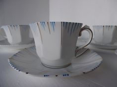Art deco tea set,  FOUR cup and saucer / duo sets, Stanley, eggshell china