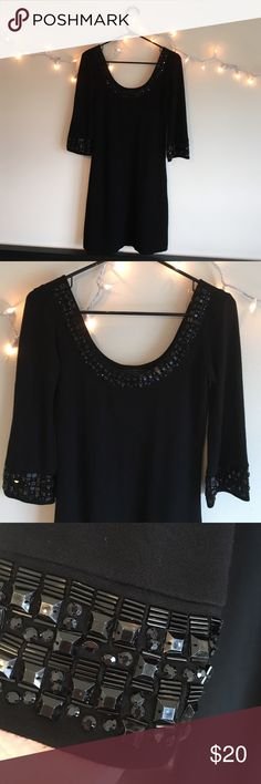 Karen Kane scoop neck dress. Karen Kane dress, black rhinestone. Rayon blend. Worn 1 time. Clean animal free home. Karen Kane Dresses
