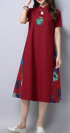 Details about women loose fitting over plus size flower embroidery dress pla . - Details about women loose fitting over plus size flower embroidery dress plate buckle tunic – - Simple Dresses, Casual Dresses, Casual Clothes, Dress Outfits, Fashion Dresses, Fashion Shoes, Fashion Accessories, Fashion Fashion, Fashion Women