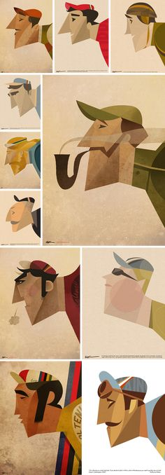 Dream team cyclist illustrations by Riccardo Guasco