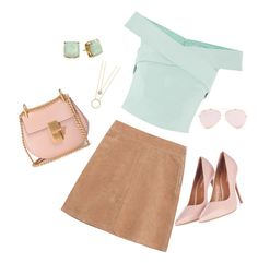 Green and tan and pink💗 by lydilou13 on Polyvore featuring polyvore, fashion, style, See by Chloé, Topshop, Chloé, Kate Spade and clothing