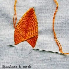 Embroidery Stitches Tutorial Stitch up your own lovely feather patterns with this raised fishbone embroidery stitch tutorial! - Stitch up your own lovely feather patterns with this raised fishbone embroidery stitch tutorial! Embroidery Stitches Tutorial, Ribbon Embroidery, Cross Stitch Embroidery, Embroidery Patterns, Stitching Patterns, Simple Embroidery, Crewel Embroidery, Rose Patterns, Embroidery Books