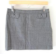 Banana Republic Black White Gray Print 100% Wool Mini Skirt Size 4 Womens Lined #BananaRepublic #Mini