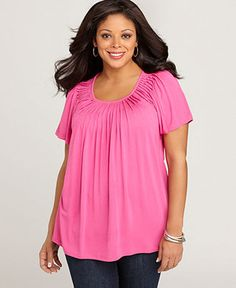 Macy's Style Top Short Sleeve Pleated