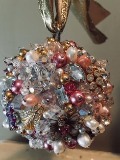 Made-To-Order Jeweled Ornament Vintage Jewelry Crafts, Vintage Costume Jewelry, Costume Jewelry Crafts, Retro Christmas Decorations, Christmas Crafts, Christmas Ornaments, Pink Christmas, Jeweled Christmas Trees, Beaded Ornaments