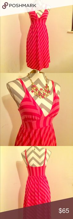 Stretchy casual XS/S Ella moss pink striped dress So cute.  So simple.  Super sexy.  Deep v-neck with thin straps, super stretchy, soft material to fit just right.  Dress up or down.  Size XS.  Could fit a small. Ella Moss Dresses