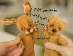 Artist Cute Teddy Bear & Bunny pattern, teddy bear , teddy bunny, teddy pattern, teddy bear pattern,  soft toys pattern, 8 inches #teddy #bear #teddybear #handmade #artdoll #ooakteddy #toy #bunny #teddybunny #rabbit #teddyrabbit #motherday