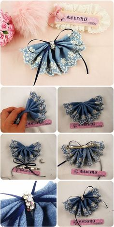 Diy : Denim Lace Flower Head Pin