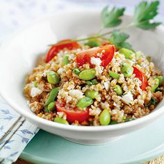 Tabbouleh with Edamame and Feta    This zesty Mediterranean salad makes a great vegetarian main dish, or serve 1/2-cup portions as a side dish with broiled or grilled chicken, beef, or pork.