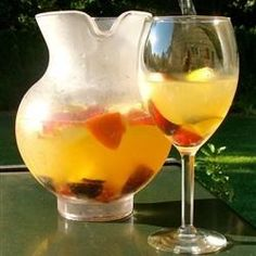 "White Peachy Sangria | ""This was a big hit. I used a Savignon Blanc instead of Moscato and scaled back a bit on the Sprite. It was delish!"""